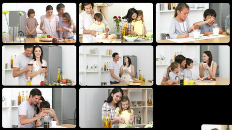 Montage Of Lively Families In The Kitchen stock footage