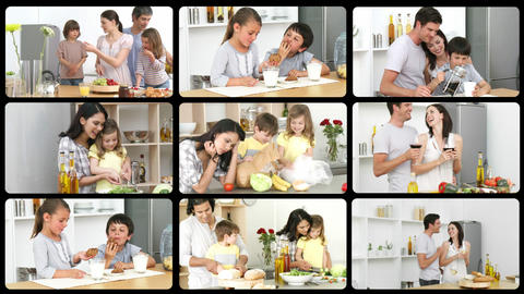 Montage of adorable families in the kitchen Animation