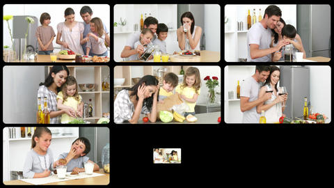 Montage of jolly families in the kitchen Animation