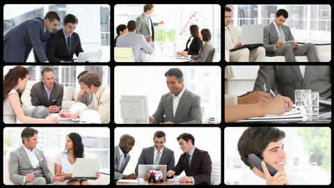 Montage of confident businessmen at work Animation
