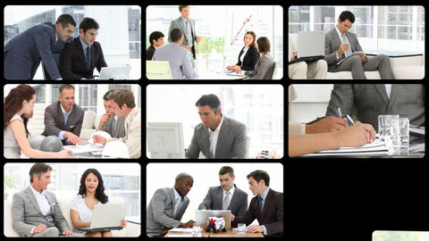 Montage of assertive businessmen at work Animation