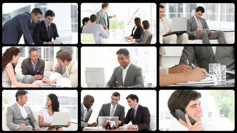 Montage of serious businessmen at work Stock Video Footage