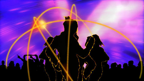 Animation showing people on a dance floor Animation