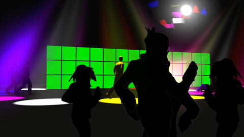Silhouettes dancing in a night club Animation