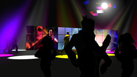 Silhouette of people dancing with colorful spotlights Animation