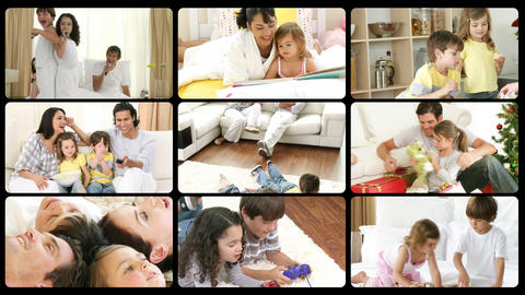 Montage of happy families playing at home Footage