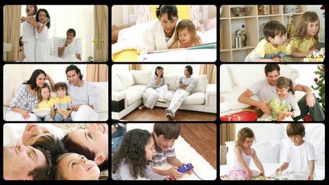 Montage of happy families playing at home Stock Video Footage