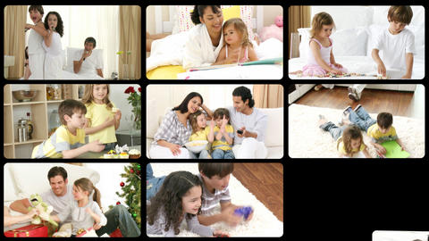 Montage of joyful families having fun Footage