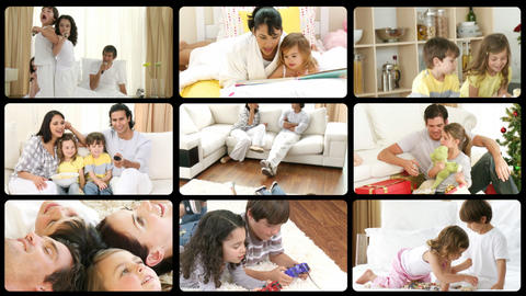 Montage of lively families having fun Stock Video Footage