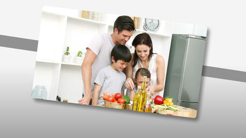 nimation showing jolly young families cooking Animation
