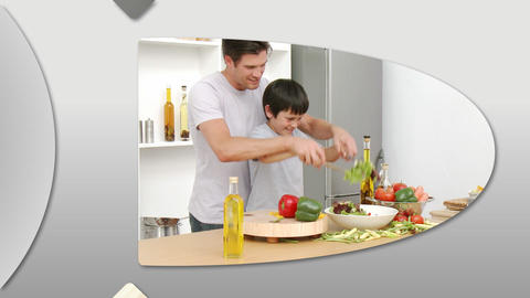 Montage presenting attentive father having fun wit Animation