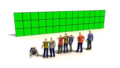 3D men presenting green sreen Stock Video Footage