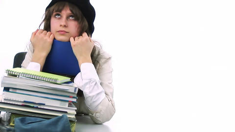 Teenager with school books Stock Video Footage