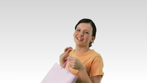 Smiling woman with shopping bags Footage