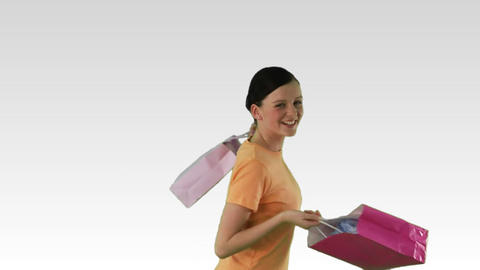 Joyful Woman with shopping Footage