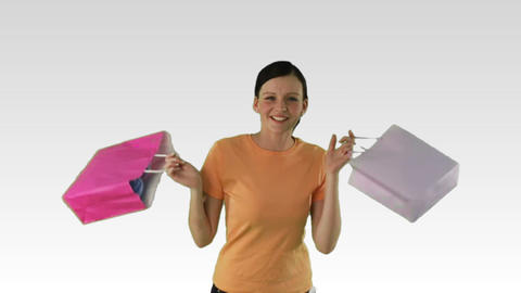 Joyful Woman with shopping Stock Video Footage