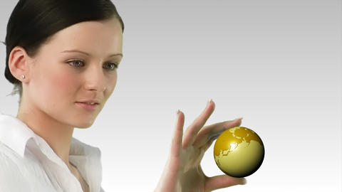 Woman holding a globe Stock Video Footage