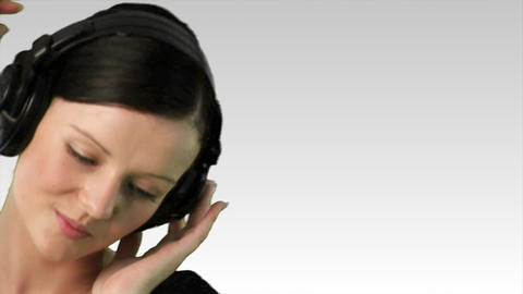 Woman listening to music 2 Stock Video Footage