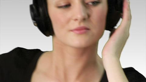 Woman listening to music 2 Footage