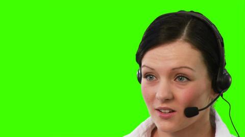 Chroma Key footage of a woman on a helpdesk Footage