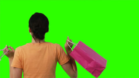 Green Screen Footage of a woman with shopping Footage