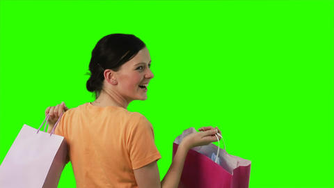 Green Screen Footage of a woman with shopping Stock Video Footage