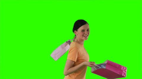 ChromaKey woman shopping Stock Video Footage