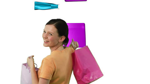 Happy Woman Shopping 2 Stock Video Footage