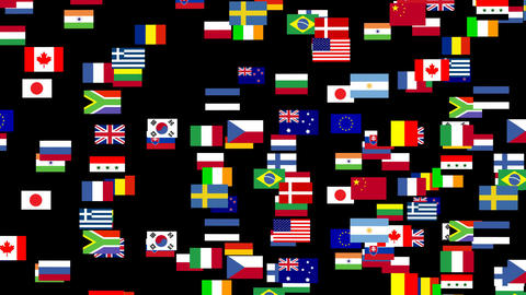 Flags of the world animated 2 Stock Video Footage