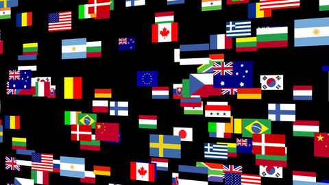 Flags of the world animated 4 Stock Video Footage