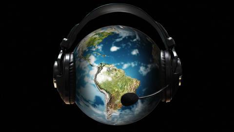 Animated Globe with earphones on it Animation