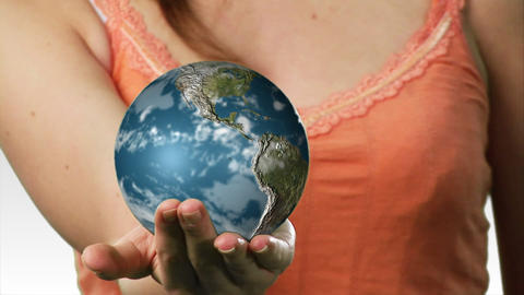 Lady Balancing a globe in her hand Stock Video Footage