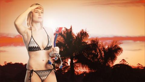 Bikini beauty on a beach Footage