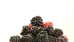 Cluster of rasberries and blackberries Footage