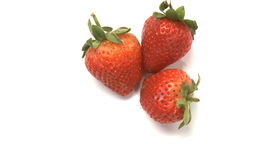 three strawberries Stock Video Footage