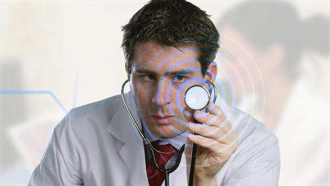 Doctor listening to a stethoscope Animation
