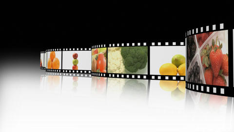 Assortment of Fruit and veg on a film reel Animation