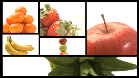 Assortment of Fruit and veg on a film reel 3 Animation