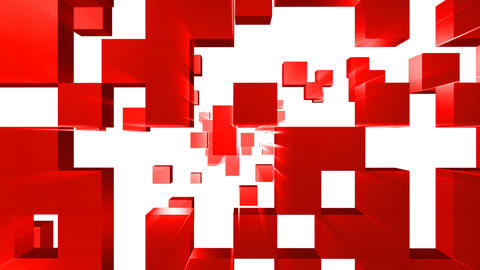 3D animation of red cubes going straight on Animation