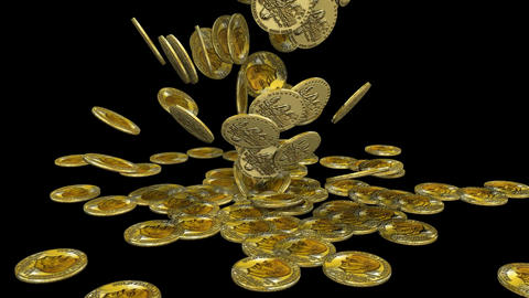 3d Coins Falling stock footage