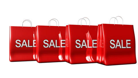 Four bags with Sale sign Animation