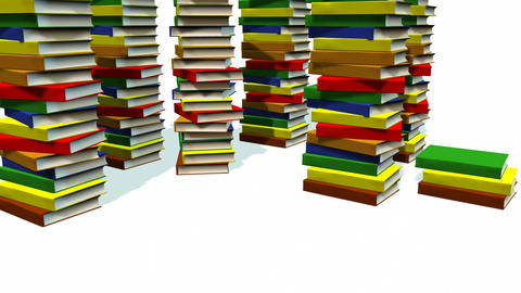 3d Books stacked Stock Video Footage