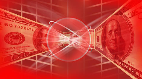 Dollars in a red background Animation