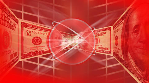 Dollars in a red background Stock Video Footage