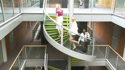 Business people going upstairs in office Animation