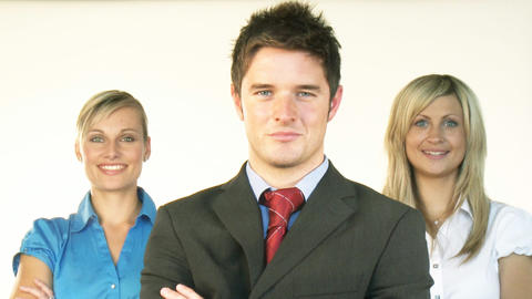 Confident businessman with businesswomen in the ba Footage