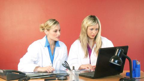 Female doctors working in office footage Footage