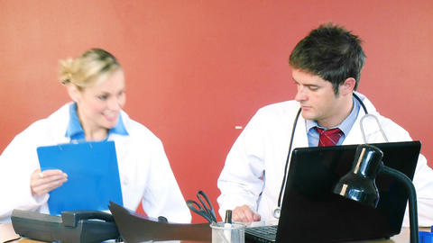Young doctors working together in office Footage