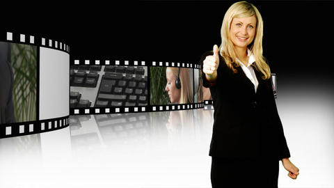 Business woman with Thumbs up Stock Video Footage