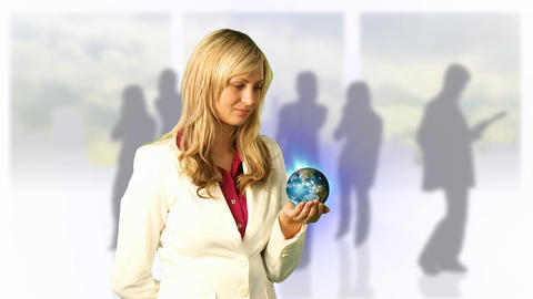 Woman Holding 3d World Footage